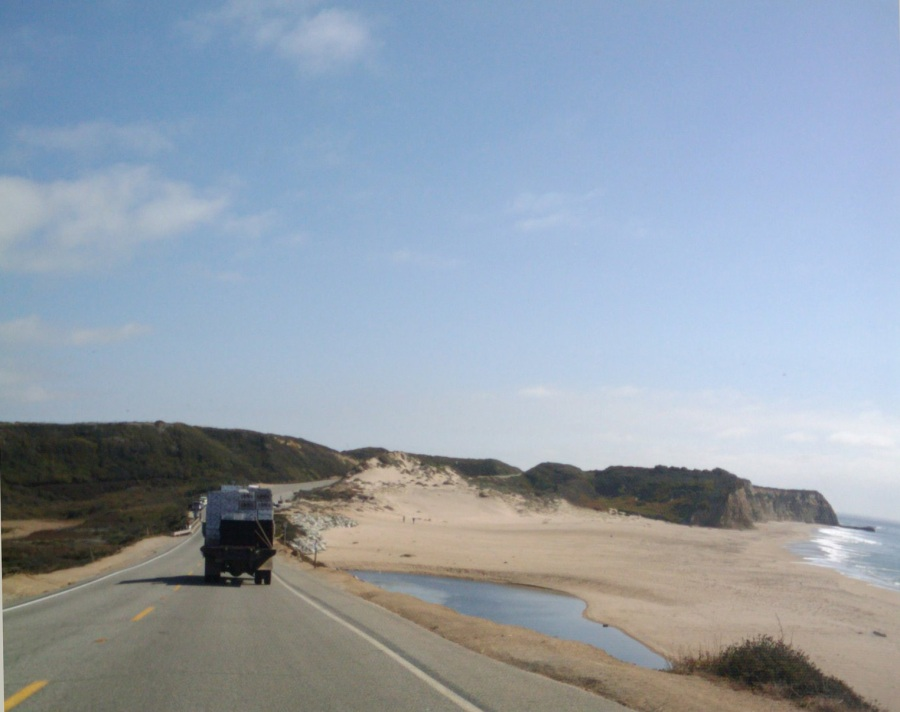 Squash truck passing by Scott Creek, Santa Cruz County